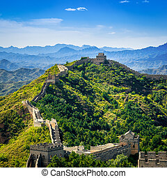 Great Wall of China in summer day, Jinshanling section near...