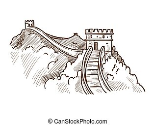 Great wall of China monochrome sketch outline vector...