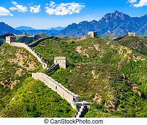 Great Wall of China on summer sunny day, Jinshanling section...