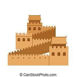 Great Wall of China. Simple flat vector illustration.
