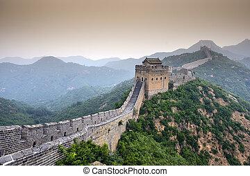 Great Wall of China. Unrestored sections at Jinshanling.