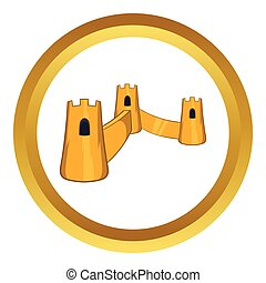 Great Wall of China vector icon in golden circle, cartoon...