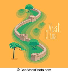 Great Wall of China vector illustration. Famous Chinese...