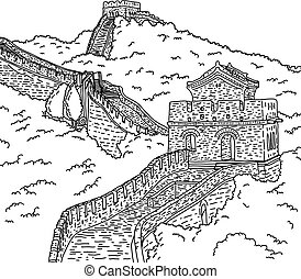 Great wall of china vector illustration sketch doodle hand...