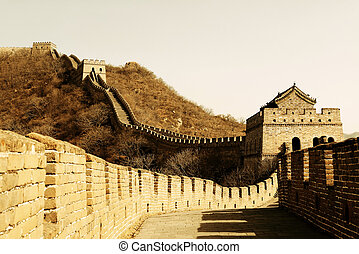 Great Wall in old yellow tone in Beijing, China
