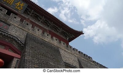 Great Wall & stone battlement,ancient DaiMiao city gate.Blue...