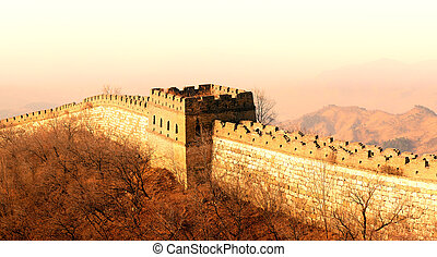 Great Wall sunset - Shining Great Wall sunset over mountains...