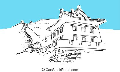 Great Wall With Tower Lineart Vector Sketch. and Drawn...