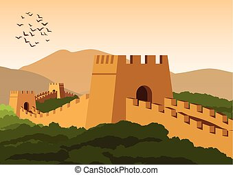 great wall,famous landmark and heritage of the world and...