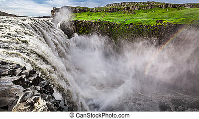 Great waterfall Dettifoss in Iceland