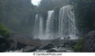 Great waterfall in the rain forest. Unprocessed,...