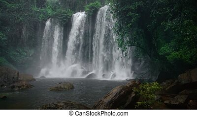 Great waterfall - tropical nature in a monsoon. Video 1080p...