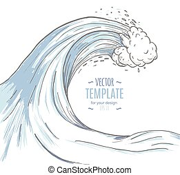 Great wave in a vintage retro hand drawn style