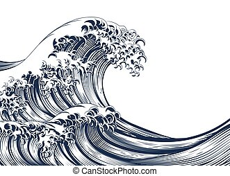 Great Wave Vintage Style Woodcut - An oriental Japanese...
