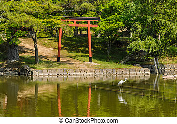 Great White Egret (Ardea Alba) fishing in the Water of a Temple in Japan