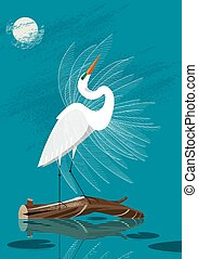 Great White Egret stands on a log against the background of...