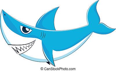 Great White Shark - Cartoon great white shark with big...