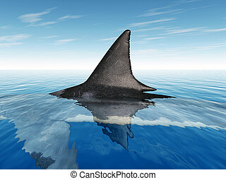Computer generated 3D illustration with the Fin of a Great White Shark