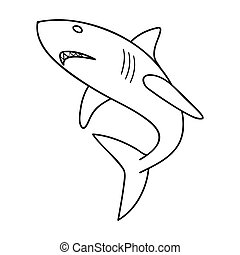 Unusual Great White Shark Outline Clipart Bull Pencil And In Color ...
