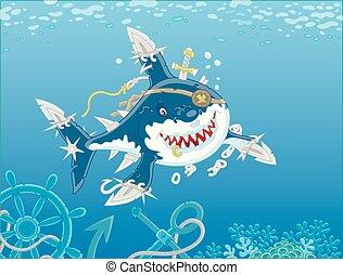 Great white shark pirate attacking