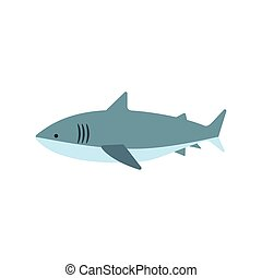 Great White Shark Primitive Style Childish Sticker. Marine...