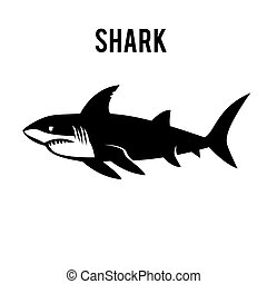 Great white shark sign logo on a white background.