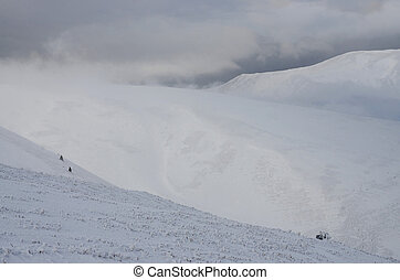 Great winter storm landscape on the slope of Gemba mountain