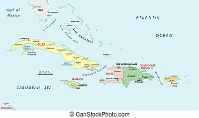 Greater antilles political map caribbean islands cuba vectors