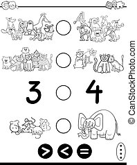 greater less or equal cartoon coloring page - Black and...