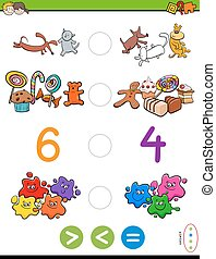 greater less or equal cartoon game - Cartoon Illustration of...