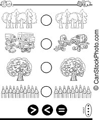 greater less or equal coloring book - Black and White ...