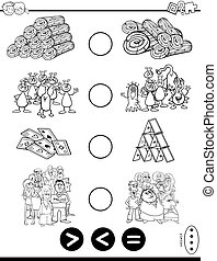 greater less or equal game coloring book - Black and White...