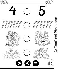 greater less or equal game coloring book - Black and White ...