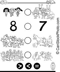 greater less or equal game coloring page - Black and White...