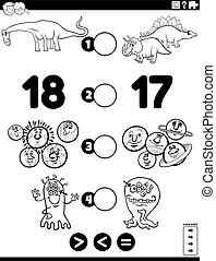 Cartoon Illustration of Educational Mathematical Puzzle Game of Greater Than, Less Than or Equal to for Children with Comic Characters Worksheet Coloring Book Page