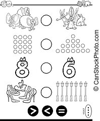 greater less or equal puzzle coloring book - Black and White...