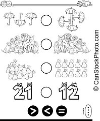 greater less or equal puzzle for kids color book - Black and...