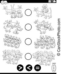Black and White Cartoon Illustration of Educational Mathematical Puzzle Task of Greater Than, Less Than or Equal to for Children with Pets Animal Characters Coloring Book Page