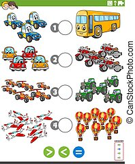 greater less or equal task with vehicles - Cartoon ...