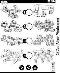 Black and White Cartoon Illustration of Educational Mathematical Puzzle Task of Greater Than, Less Than or Equal to for Children with Cars and Vehicles Worksheet Coloring Book Page