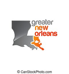 greater new orleans map logo vector design illustrations
