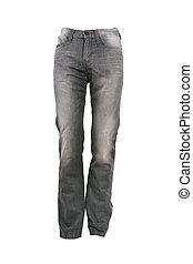 greay, jeans, broek