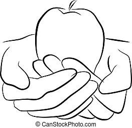 greb, frugt, hænder