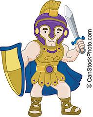 grec, ancien, guerrier