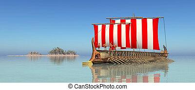 grec, ancien, navire guerre