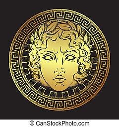 grec, apollo, vecteur, illustration, dieu