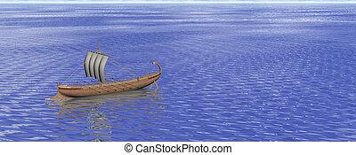 grec, bateau, ancien