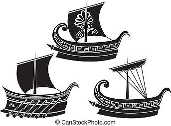 grec, bateau, ancien, stencil, set.