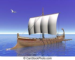 grec, -, bateau, render, 3d