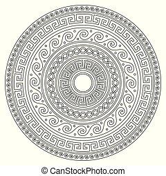 grec, blanc, art, mandala, -, clã©, coup, ancien, adultes, noir, méandre, rond, livre coloration, parfait, modèle